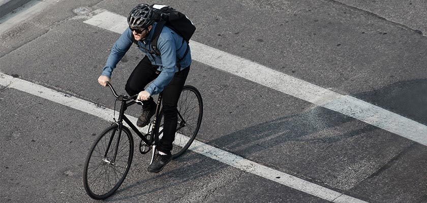 Bicyclist riding on the road